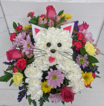"""Kitty Cat in a Basket"" Fresh Arrangement"