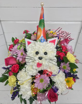 """Happy Birthday Party Cat"" Fresh Arrangement"""
