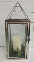 "18"" Contemporary Chrome and Glass Lantern with Mirage Candle"
