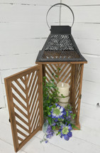 "22"" Wooden Lattice Lantern with Floral Embellishment and Mirage Candle"