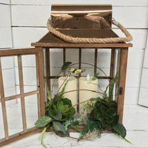 "18"" Copper and Wood Succulent Lantern with Mirage Candles"