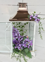 "19"" Copper and White Metal Lantern with Lilacs and Lavender Bird"