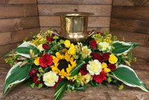Golden Yellow and Crimson Gorgeous Urn Adornment