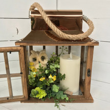 """12"""" Copper and Wooden Owl Lantern with Floral Embellishment and Mirage Candle"""