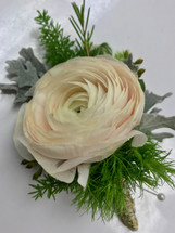 Ranunculus Boutonniere with Metal Wire Wrap