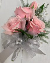 4 Bloom Sweetheart Corsage wrapped with grey satin and pearls