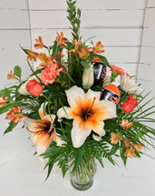 Bengals theme fresh vase arrangement