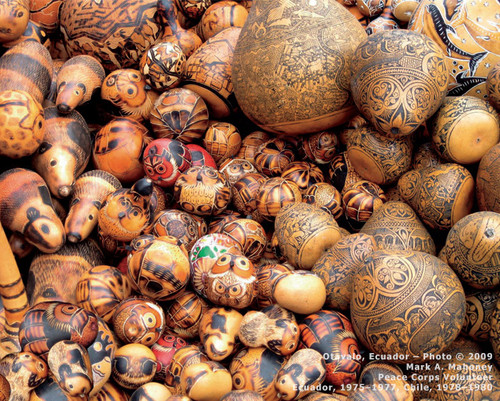 Otavalo, Ecuador  Carved gourds in various styles at local market.  Photo © 2009 Mark A. Mahoney; The International Calendar Project