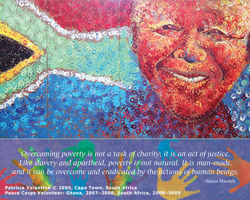 Cape Town, South Africa  It was stunning. I turned a corner and there it was: a temporary plywood fence at a downtown construction site turned into a joyful work of art. Brilliant blues, dazzling yellows, bright reds and greens. Upon closer inspection, the realization came that someone had found the time, energy, and motivation to paint this glorious picture, using only handprints—and hadn't even bothered to sign it. This was a wonderful example of creating art simply for the sheer joy of doing—and sharing with the world.  Photo © 2009 Patricia Valentine; featured in the 2015 International Calendar