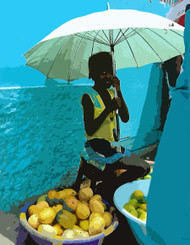 Cape Verde ArtCard  This colorful Cape Verde market scene features an abstracted photo of a young fruit vendor in Porto Novo proudly displaying her wares.  Photo © 2008 John Earle (with Photoshop enhancement)