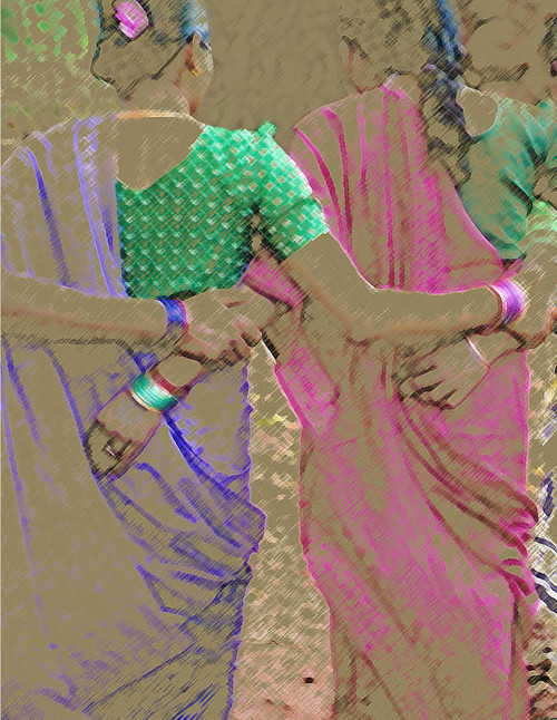 India ArtCard  Arm-in-arm, close friends stroll down a street in this filtered version of a photograph taken in India.  Photo © 2004 Wendy Henning, with Photoshop enhancement