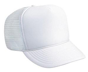 SOLID WHITE MESH plain Trucker Hat Mesh Hat Snapback Hat
