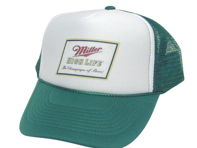 6b2748f3 MILLER HIGH LIFE GREEN Trucker Hat Mesh Hat Snapback Hat. Price: $11.99. As  shown in photo then color of the hat . ex. Green/white front
