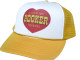 As shown in photo then color of the hat . ex. Yellow/white front