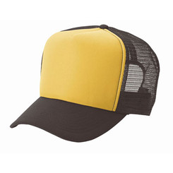 Gold front/ brown back plain blank Trucker Hat Mesh Hat Snapback Hat