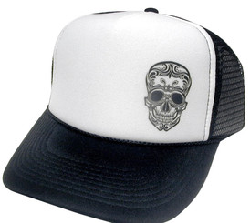 Tattoo Skull Hat, Trucker Hat, Mesh Hat, Snap Back Hat, Trucker Hats