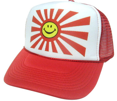 Smiling Japanese Flag Hat, Trucker Hat, Mesh Hat, Trucker Hats