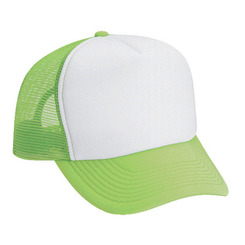 Blank Cap, WHITE FRONT NEON GREEN BACK, Trucker Hat, Mesh Hats, Snap Back Hat