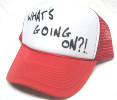 What's Going On? Trucker Hat, Trucker Hats, Mesh Hat, Snap Back Hat, Funny Hat, HEY! Hat