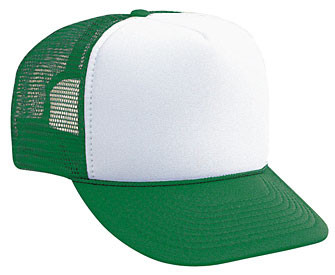 Trucker Hat Blank, WHITE FRONT KELLY GREEN BACK, Trucker Hat, Mesh Hat, Snap Back Hat