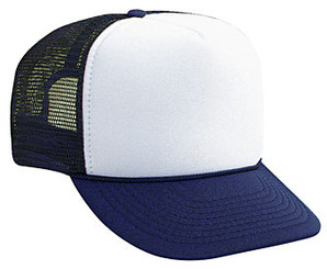 Blank Hats, Trucker Hats, WHITE FRONT NAVY BACK, Trucker Hat, Mesh Hat, Snap Back Hat
