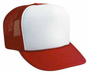 Blank Cap, WHITE FRONT RED BACK, Trucker Hat, Mesh Hat, Snap Back Hat, Trucker Hats