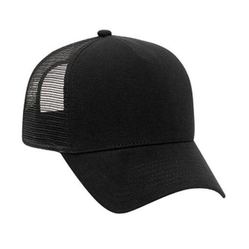 cc820ce5 Black Trucker Hat, Low Profile, Flannel Solid Black, Trucker Hat USA
