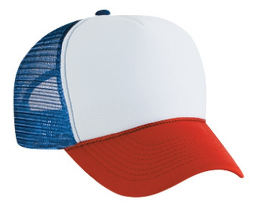 d23908a556ba4 Dustin from Stranger Things RED WHITE BLUE 3 TONE BLANK TRUCKER HAT MESH HAT  SNAPBACK HAT