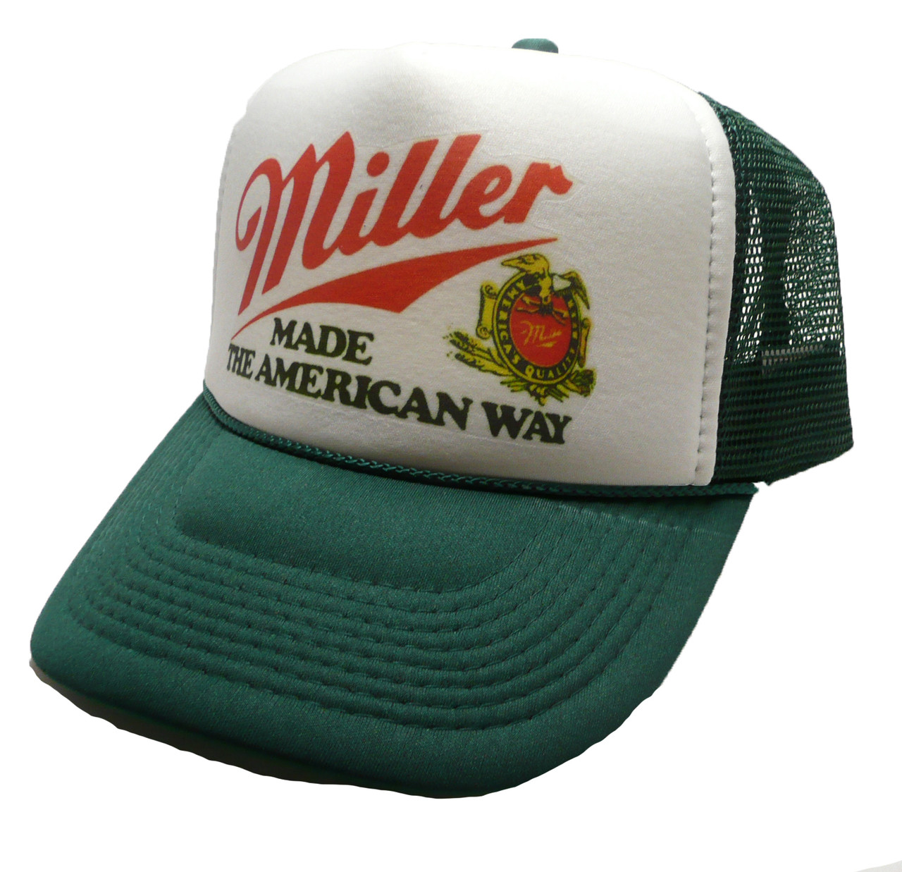 9aa3fa610 Miller Beer Made the American way Hat Trucker hat snap back style cap