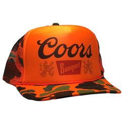 Coors Beer Hat Trucker Cap snap back Orange Camouflage Hunting Cap Mesh Back