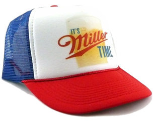 Miller Beer Hat It's Miller Time Trucker Hat snap back cap adjustable