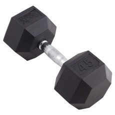 45 LBS BODY SPORT RUBBER ENCASED HEX DUMBBELL