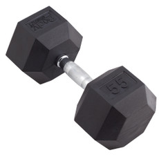 55 LBS BODY SPORT RUBBER ENCASED HEX DUMBBELL