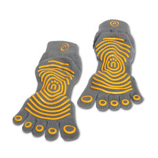 Grip Socks Features  •Enhances workouts by providing comfort and warmth. •Nonslip traction on bottom of feet for yoga, Pilates and more. •5-toe design for comfort and range of motion. •Made from organic cotton. •Sizes: x-small/small, medium/large. •Color: gray/yellow.  SPECS    Size:    Medium/Large,  X-Small/Small