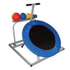 """Weighted Medicine Ball Set Features  Quick-change rebounders include an easy-reach ball storage rack and a set of 5 weighted medicine balls.  Color-coded balls for convenience.  Set includes 1.1 lb., 2.2 lb., 4.4 lb., 6.6 lb. and 11 lb. balls.  Available in round (47"""" x 41"""" x 64"""")."""