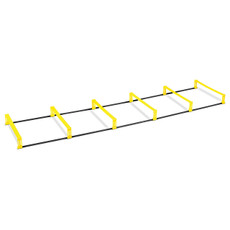 "Elevation Ladder Features Increases flexibility, agility and speed. Quickly switches between flat ladder and 4"" hurdle position. Folds up easily for storage and portability. Made of durable and lightweight PVC plastic. Dimensions: 7 ft., 6-rungs (each rung is 26"" wide x 15"" long). Includes carry bag and usage guide."