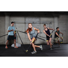 Rip Trainer Group Station Features  • Perfect solution for group training sessions, whether for a personal trainer, fitness facility instructor or rehab clinic PT.  • Made of powder-coated high-grade steel; extremely durable.  • Can accommodate up to 10 users in an indoor or outdoor setting.  • Valuable piece of TRX exercise equipment.  • Easy to move from place to place: set on wheels.  • Weight: 100 lbs.