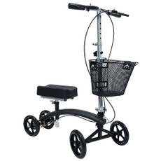 "Premium Steerable Dual Brake Knee Walker with Basket 4-wheel mobility aid with basket for users recovering from foot injuries. 8"" casters make movement indoor/outdoor easier. Sturdy, durable frame increases stability. Dense foam knee pad is comfortable to use. Tiller locking mechanism is easily enabled when walker is not in use. Includes front carrying basket. 350-lb. user weight limit. Dual hand brakes for added safety Ideal for individuals recovering from foot surgery, breaks, sprains, amputation and ulcers of the foot Deluxe lever brakes ensure safety Weight Capacity 300lbs  HCPCS # E0118 , MFG # ZZRWAL03"