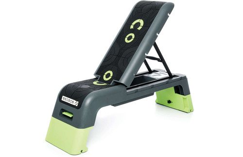 """TECH SPEC. Anti-slip rubber top surface features intelligent grip to give users total confidence during fast-paced workouts, with more aggressive tread for feet, and softer tread for hands. The adjustable back rest is supported by strong steel tubing for extra strength and user confidence during weight training.  DIMENSIONS. Size: 8"""" (flat), 38"""" (extended) x 12"""" x 48"""". Weight: 28.7 lbs."""