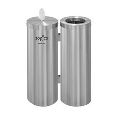 """Specifications Floor Stand Dispenser Dimensions29"""" H x 10"""" W (each canister body) Floor Stand MaterialsAluminum Wipes Bucket Dimensions10"""" H x 10"""" W Waste Basket Capacity8 Gallons NOTE: Zogics gym wipes are not included with this dispenser. Please order Zogics wipes separately."""