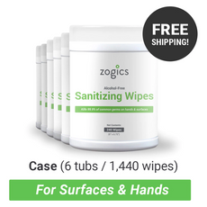 Features All Zogics wipe cases ship free! Full-spectrum sanitizer kills 99.9% of most common germs Water-based and alcohol-free formula Contains Aloe Vera to help maintain skin moisturize Textured, non-abrasive, lint free material Can be used to sanitize skin, as well as inanimate surfaces  Each wipe is 6″ x 6.75″