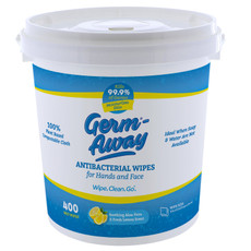 Germ-Away Antibacterial Hand Wipes, 400 Count Dispensing with  Bucket  Our Germ Away antibacterial hand wipes smell great and are gentle and moisturizing on your skin. But they're super tough on dirt, bacteria, and kill germs.
