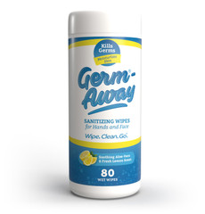 Our Germ Away antibacterial hand wipes smell great and are gentle and moisturizing on your skin. But they're super tough on dirt, bacteria, and kill germs. These wipes contain both Aloe Vera and BZK (Benzalkonium Chloride), a non-alcohol based broad-range antimicrobial that kills tough bacteria without soap and water, but is gentle enough to keep skin soft and healthy.