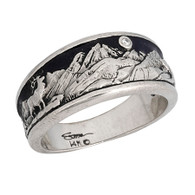 Mountain band with Elk  14kt white gold with black enameled sky and full cut diamond moon