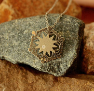 #6960 Handmade Snowflake White Gold w/ Diamond Pendant by Steven Powell McHone