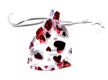Organza Gift Bags - Red Hearts