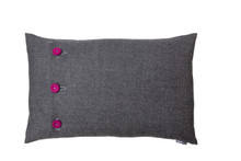 Chic, charcoal marle wool is the foundation for this cushion.  Button Me In col Blast is a fabulous pop of magenta.  Strong and powerful or flirty - you decide.  Create impact with styling options or select neutral tones and let just a hint of colour come through. Rectangular 60 x 40cm feather filled cushion is perfect for placment on the sofa.