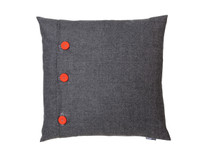 Classic charcoal marle wool makes this cushion fabulous, but what makes this cushion amazing, are the hand covered and hand stitched Aperol-orange buttons!  What a Burst of colour that you can choose to highlight further or allow these little Burst gems to sneak in and surprise you.  Love it! 50 x 50cm, feather filled cushions.