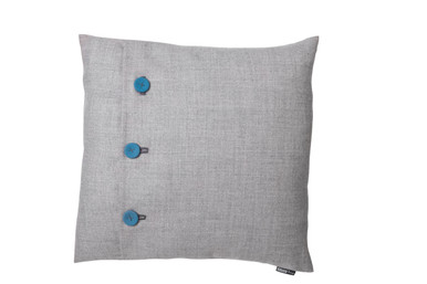 Cool and sophisticated cool Cyan blue fabric covered buttons on the perfect tone of neutral.  Australian wool blend textiles provide fashionable marle effect on this 50 x 50 square cushion. The hand covered and stitched buttons are the feature of this range - offering a perfect little pop of colour or an introduction to something bolder.