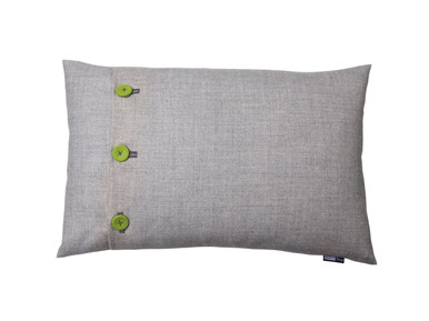 Clean and fresh combination of neutral and chartruese on this fun rectangular cushion.  Fabric covered buttons which are hand stitched, make a 'Bang' of a  difference to this range (sorry, pun intended!) 60 x 40cm, feather filled - love it!